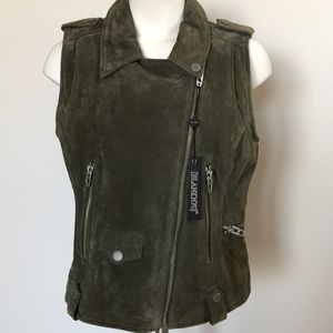 Olive color suede vest by BLANKNYC